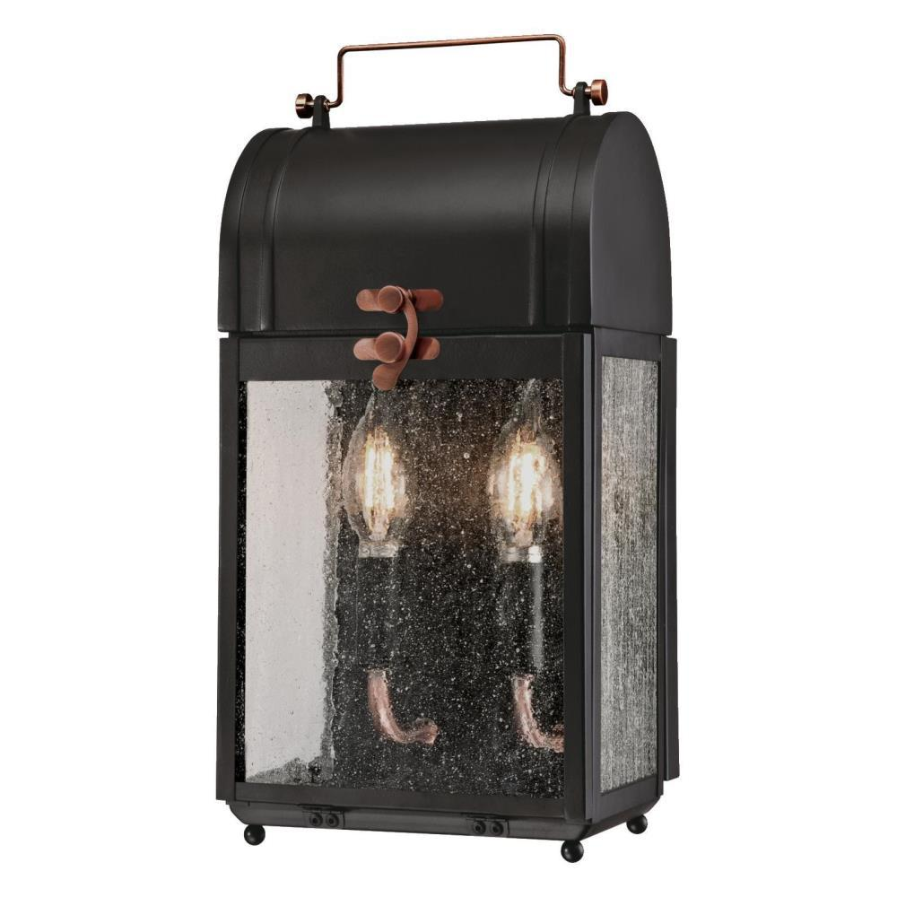 Westinghouse Mulberry 2 Light Matte Black With Washed Copper Accents Outdoor Wall Mount Lantern Smart Led